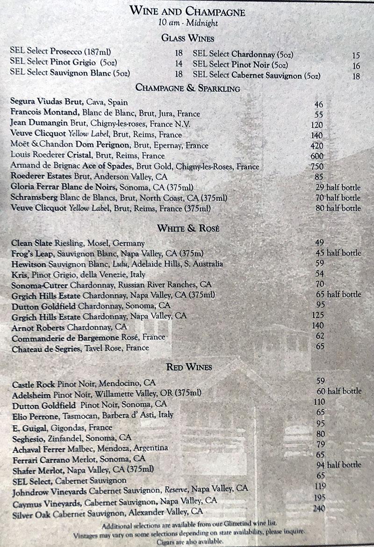 Stein Eriksen Lodge room service menu - wine and champagne