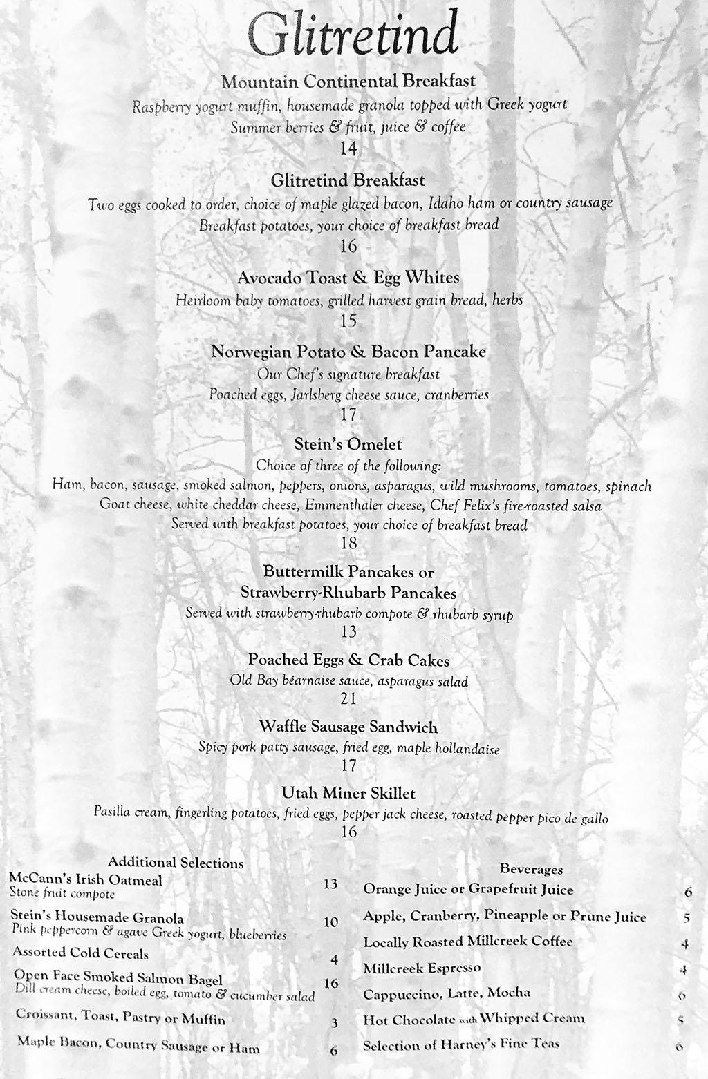 Stein Eriksen Sunday brunch menu