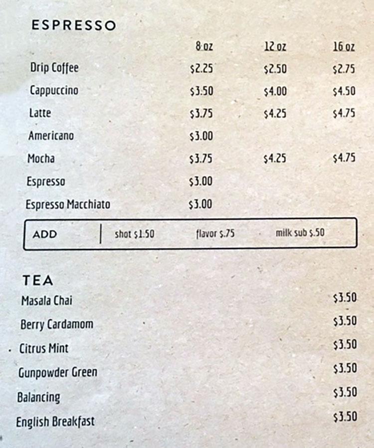 The Daily menu - coffee, tea