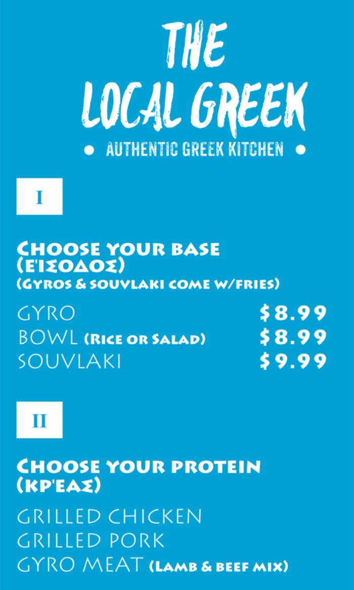 The Local Greek menu - base, protein