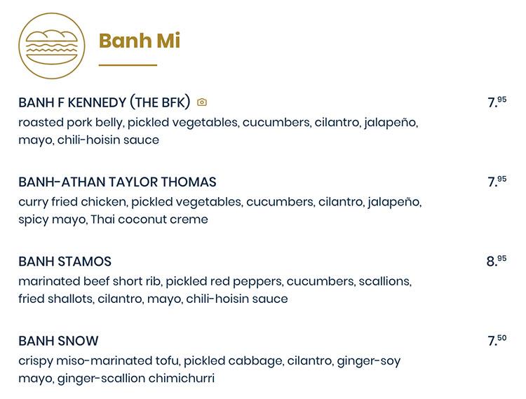 The Rising Bun menu - banh mi