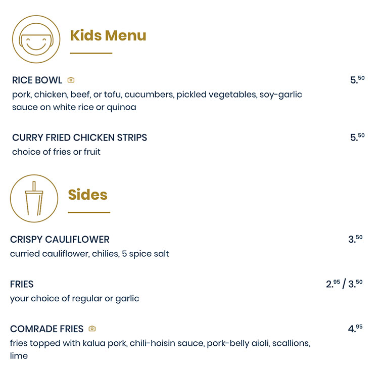 The Rising Bun menu - kids, desserts