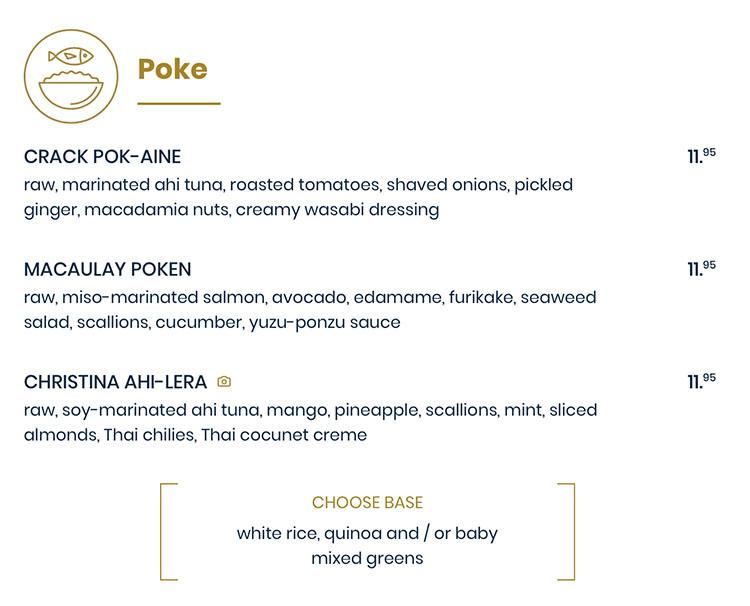 The Rising Bun menu - poke