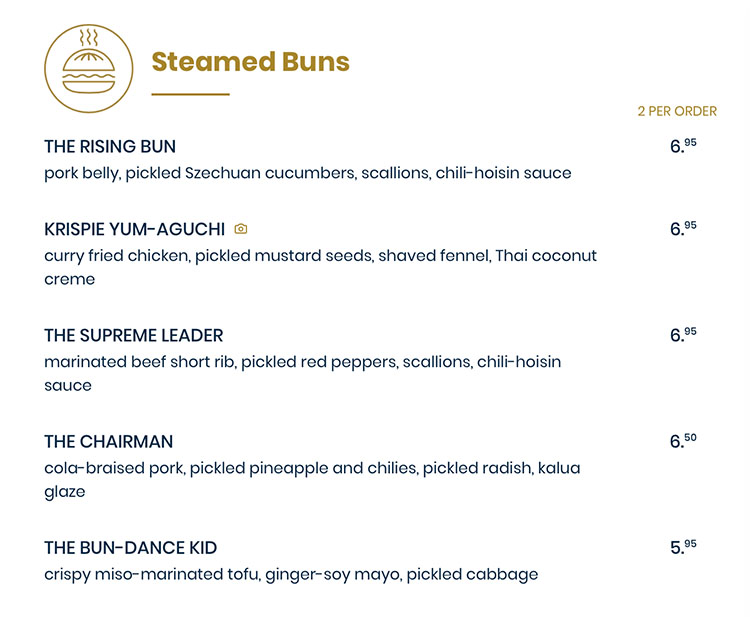 The Rising Bun menu - steamed buns