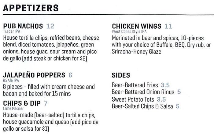 Uinta Brewhouse Pub menu - appetizers