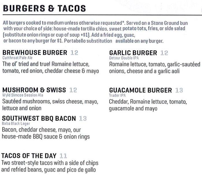 Uinta Brewhouse Pub menu - burgers and tacos