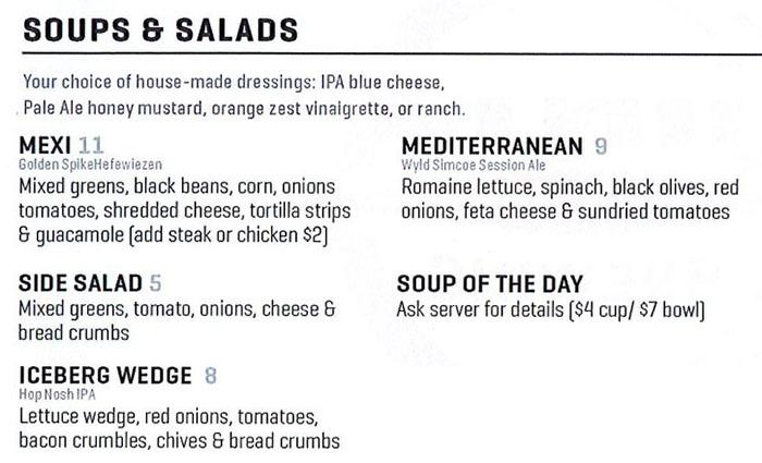 Uinta Brewhouse Pub menu - soups, salads