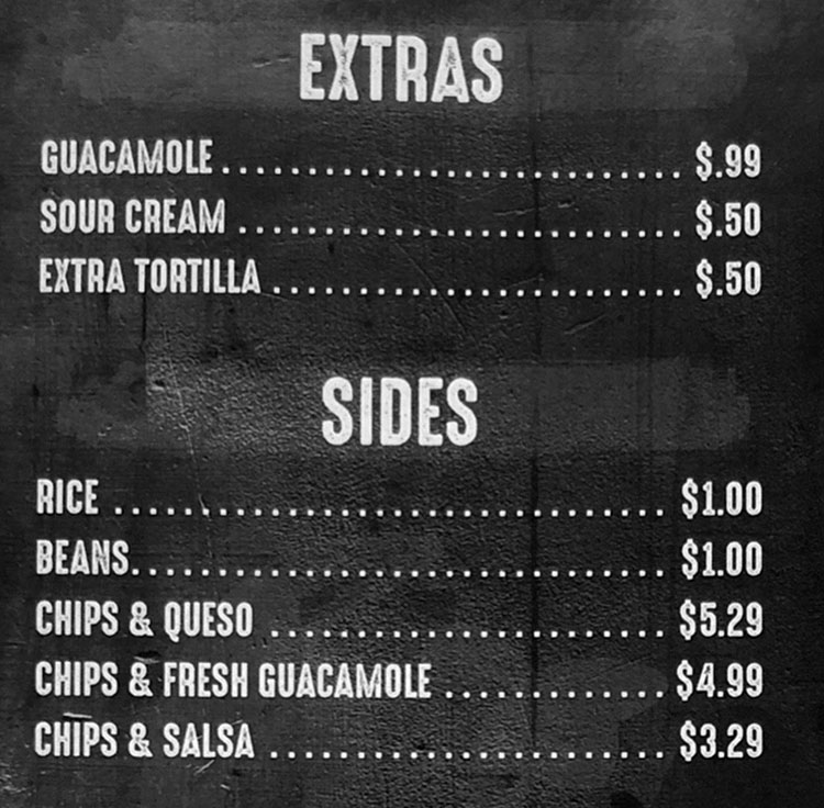 Yoyi's Mexican Grill menu - extras, sides