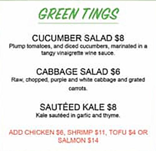 11 Hauz Jamaican Food menu - green tings