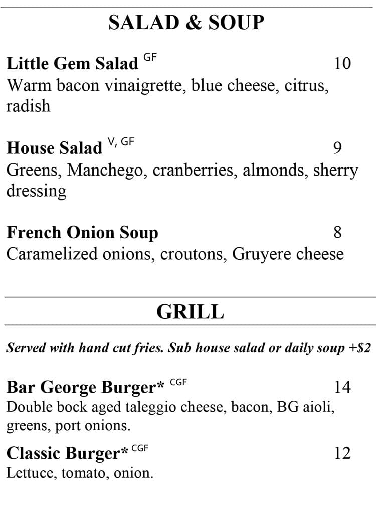 Bar George menu - soup, salad, grill