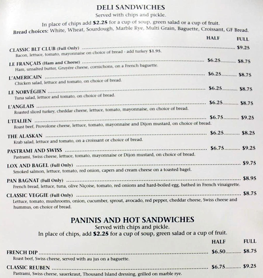 Delice Bakery And Cafe menu - deli sandwiches, panini