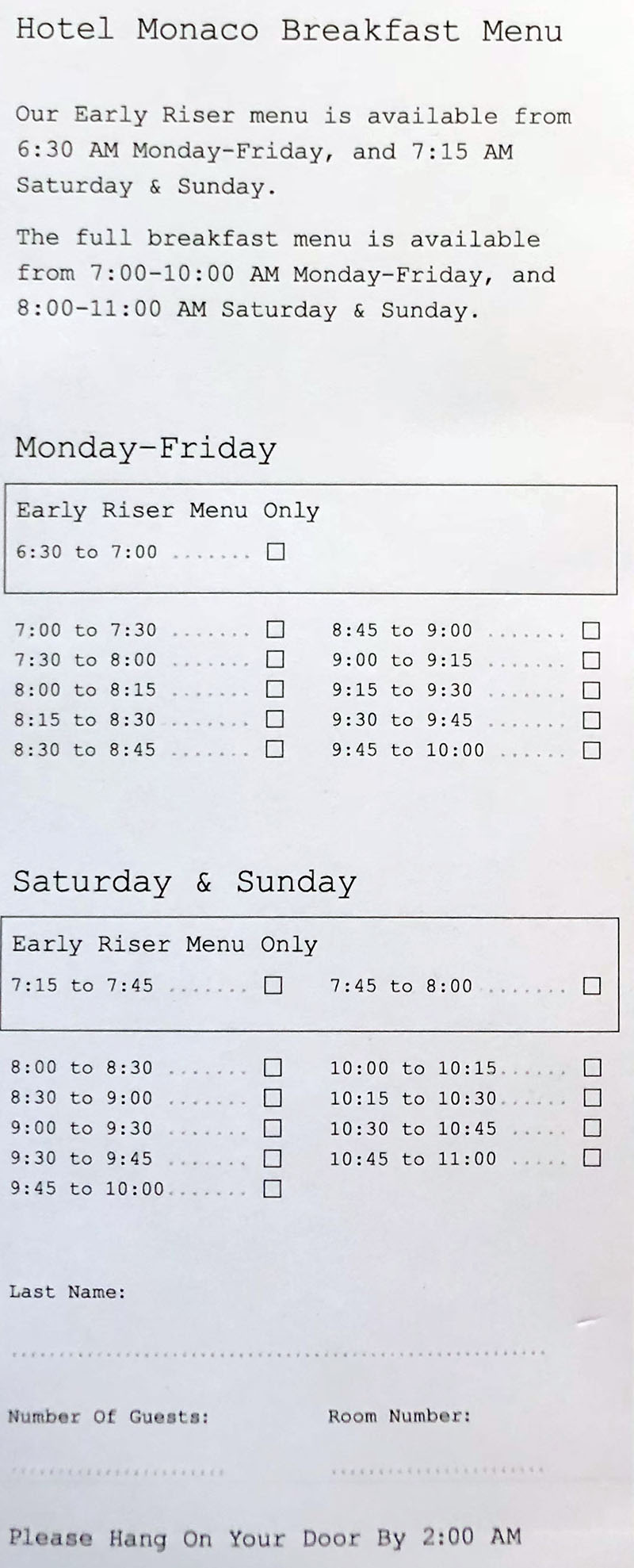 Hotel Monaco Salt Lake City room service menu - breakfast order form continued