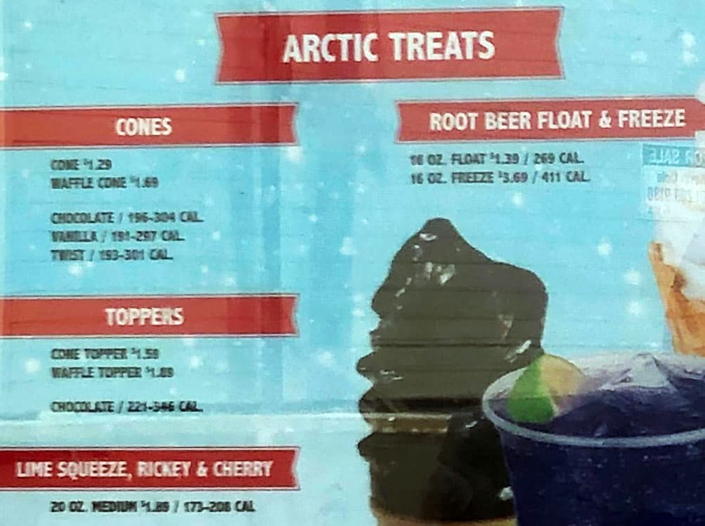Arctic Circle menu - arctic treats