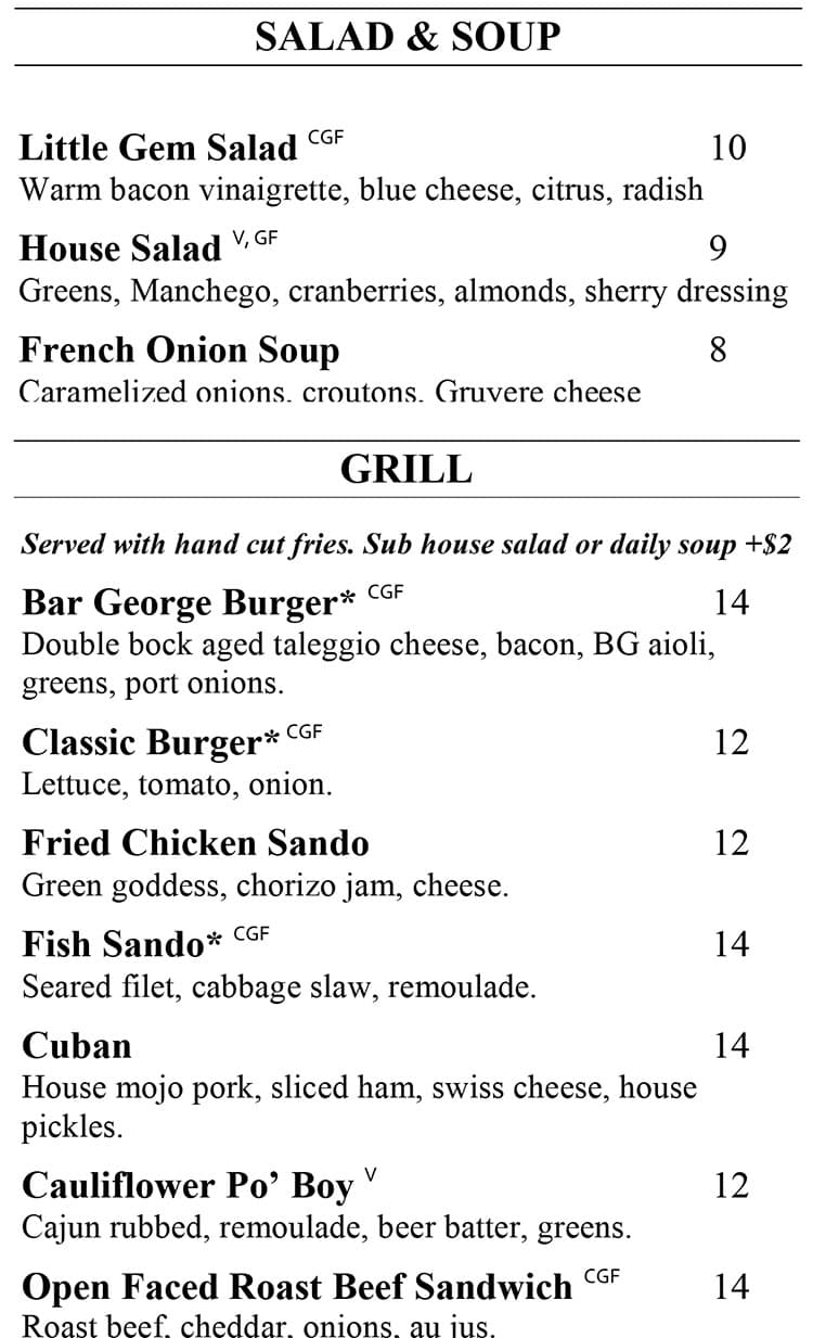 George restaurant menu - salad, soup, grill