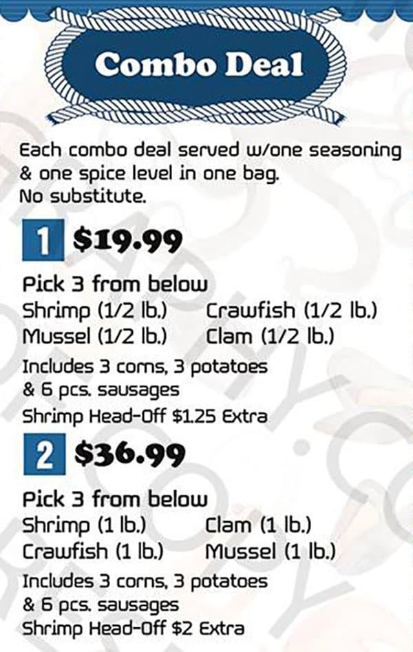 Kickin Seafood menu - combo deals one