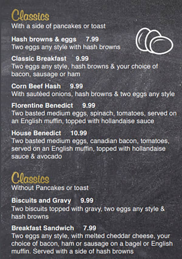 Our Kitchen Cafe menu - classics