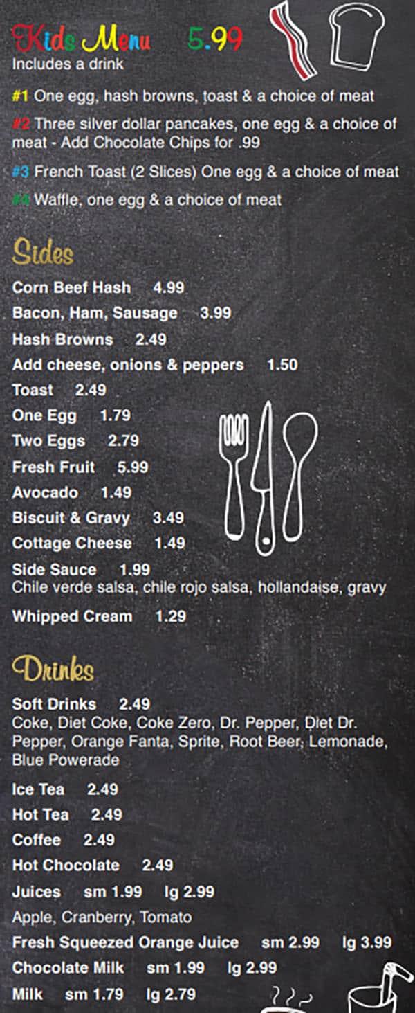 Our Kitchen Cafe menu - kids, sides, drinks