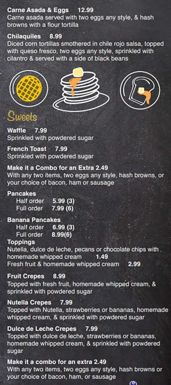 Our Kitchen Cafe menu - specialties, sweets