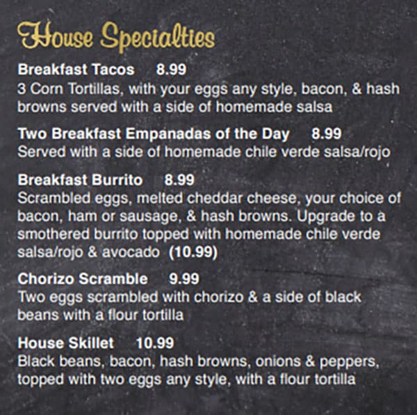 Our Kitchen Cafe menu - specialties