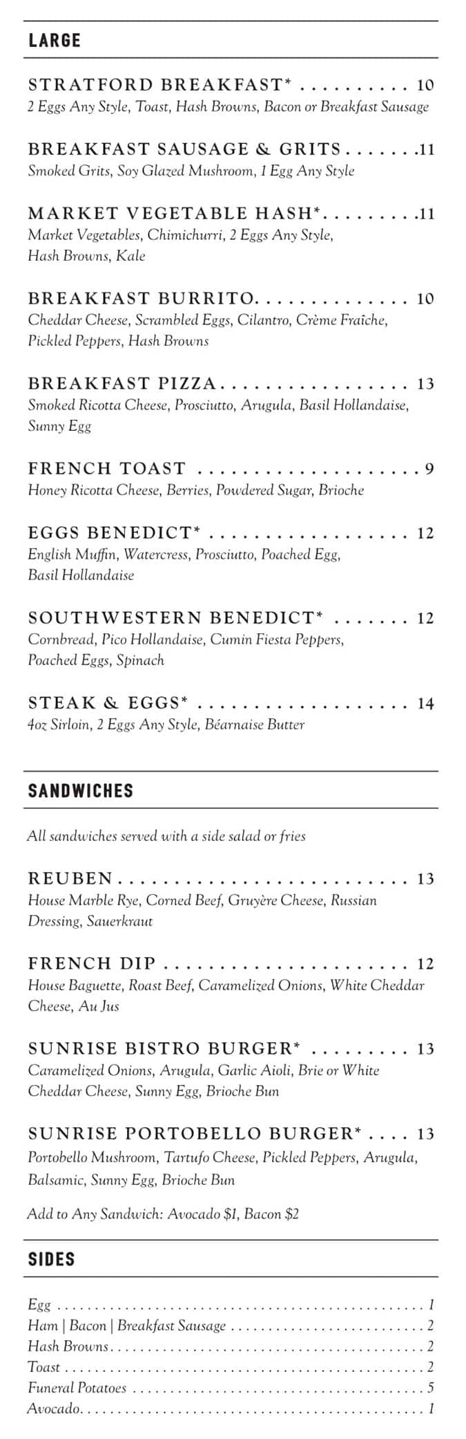 Stratford Proper brunch menu - large plates, sandwiches, sides