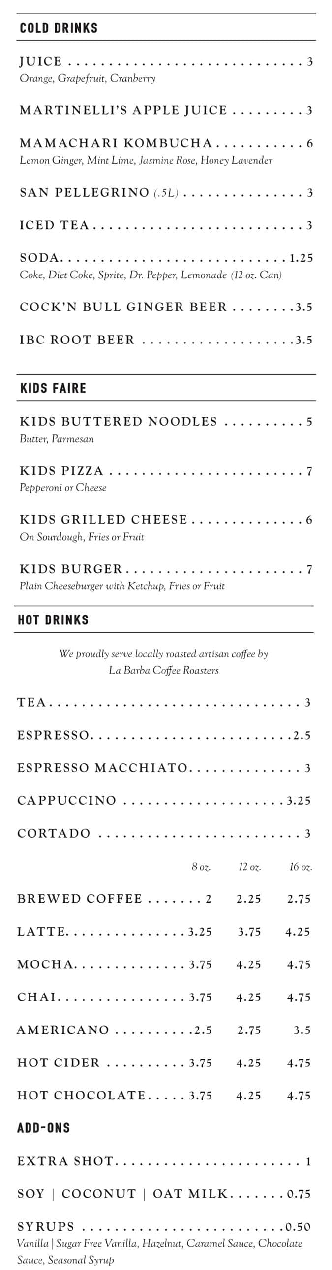 Straford Proper dinner menu - cold drinks, hot drinks, kids