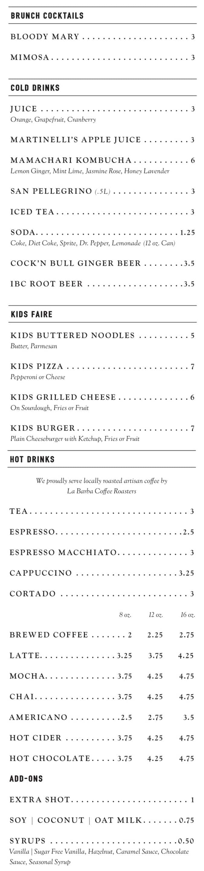 Stratford Proper brunch menu - brunch cocktails, hot drinks, cold drinks, kids