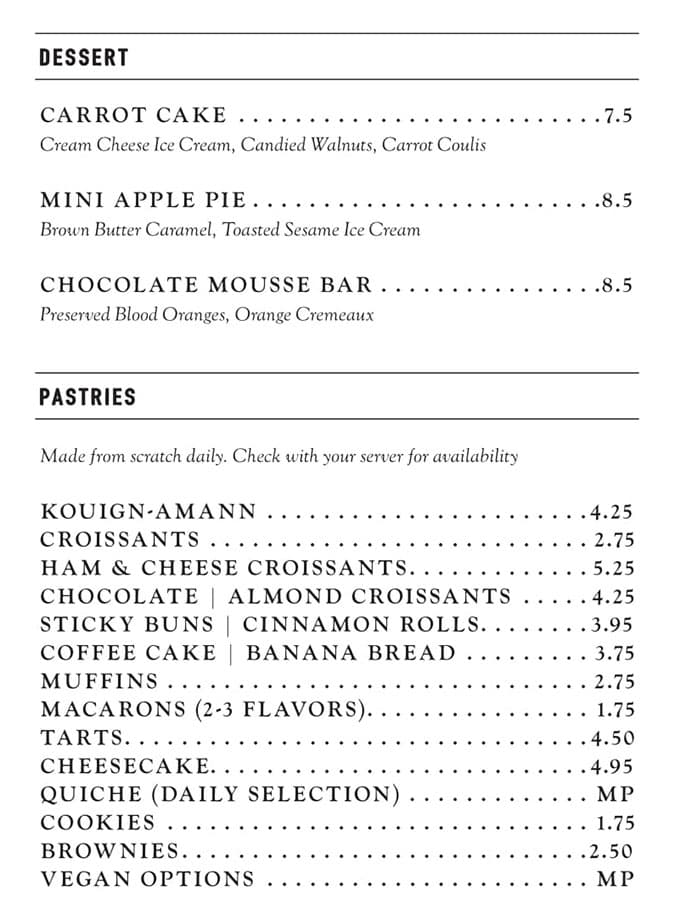 Stratford Proper menu - dessert