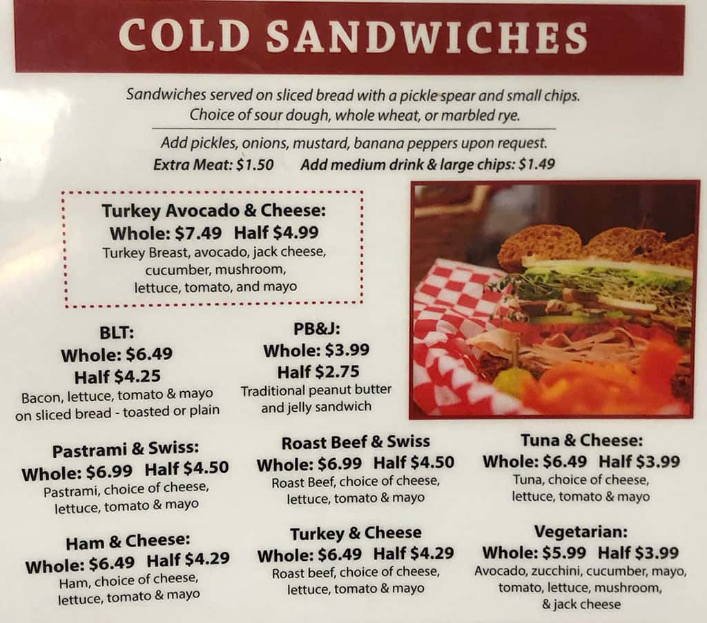 The Deli At University Pharmacy menu - cold sandwiches