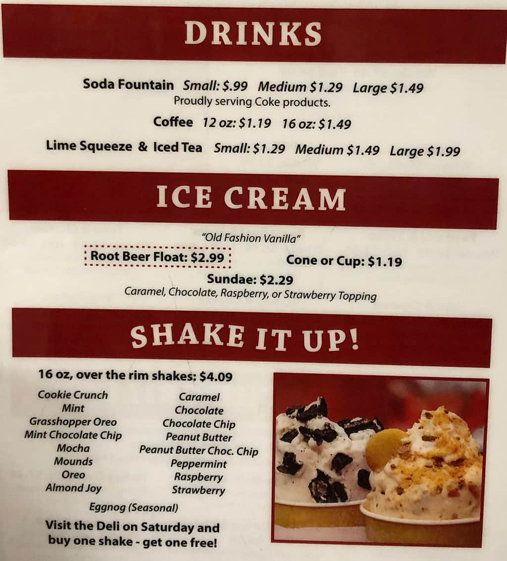 The Deli At University Pharmacy menu - drinks, ice cream, shakes