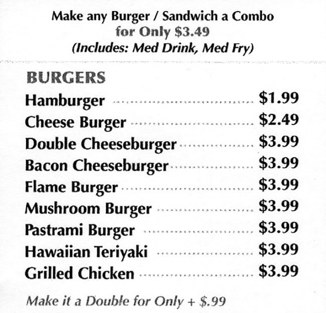 Flame Burger menu - burgers