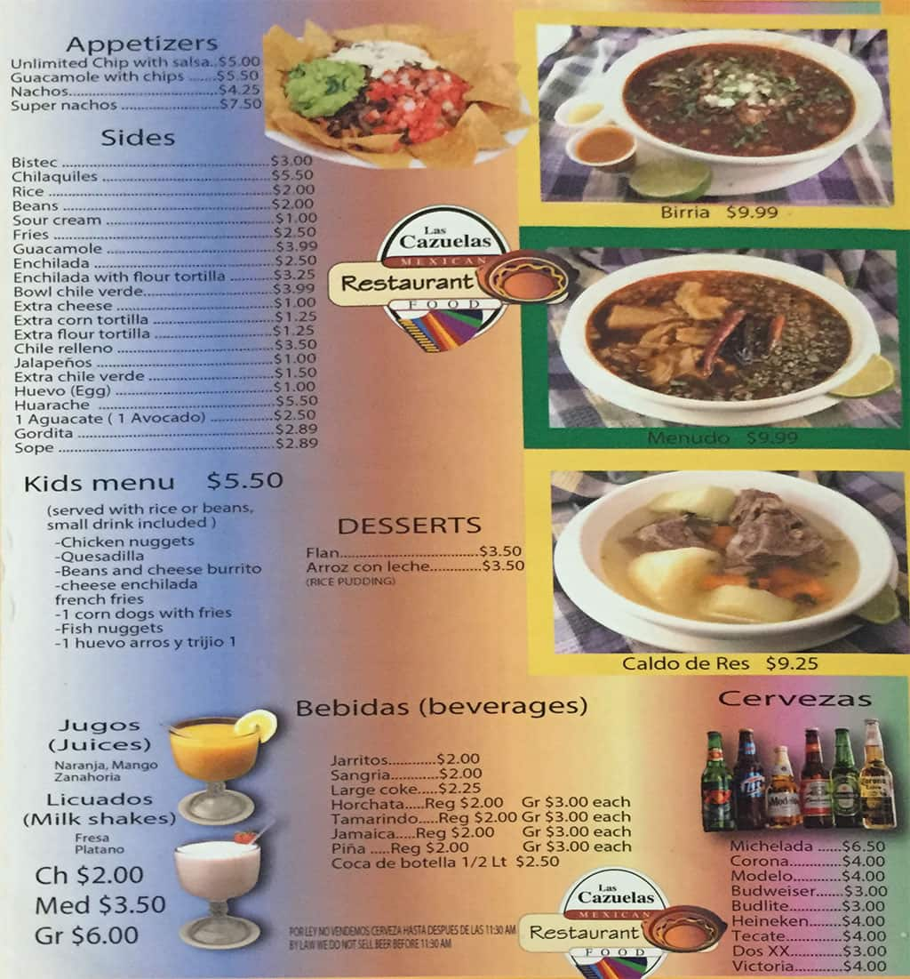 Las Cazuelas menu - appetizers, sides, kinds, drinks, beer