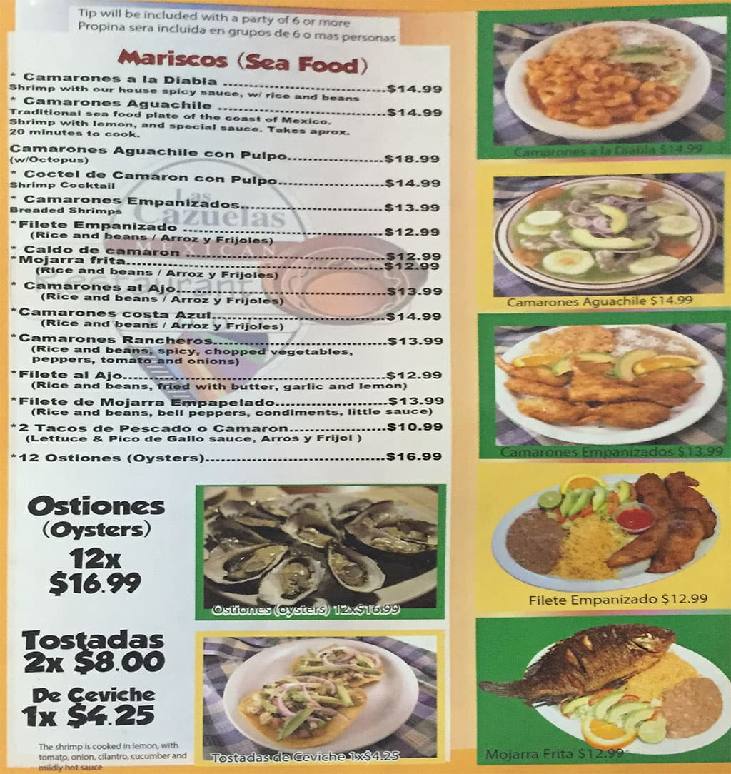 Las Cazuelas menu - mariscos