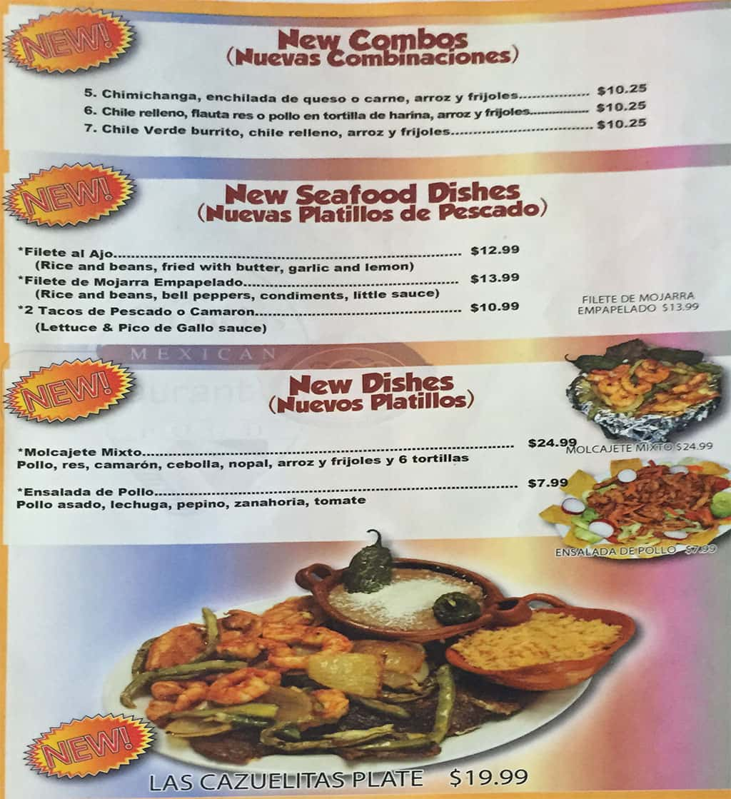 Las Cazuelas menu - new items