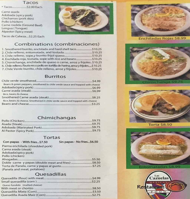 Las Cazuelas menu - tacos, burritos, chimichangas, tortas, combos