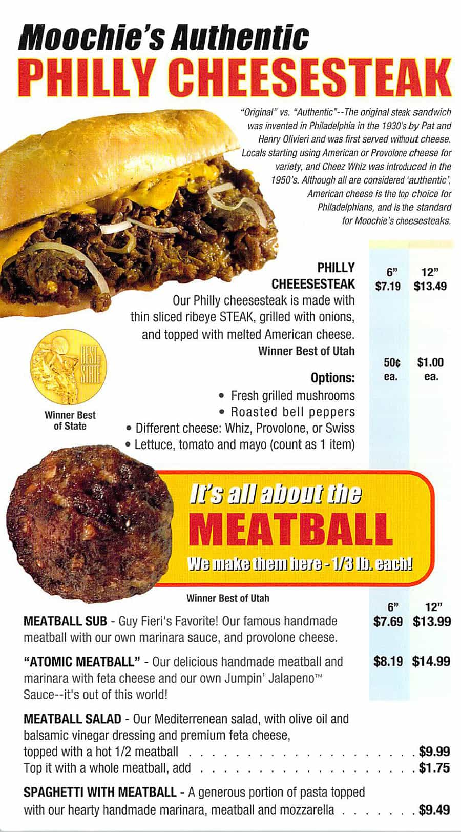 Moochie's Meatballs And More menu - cheesesteaks, meatballs