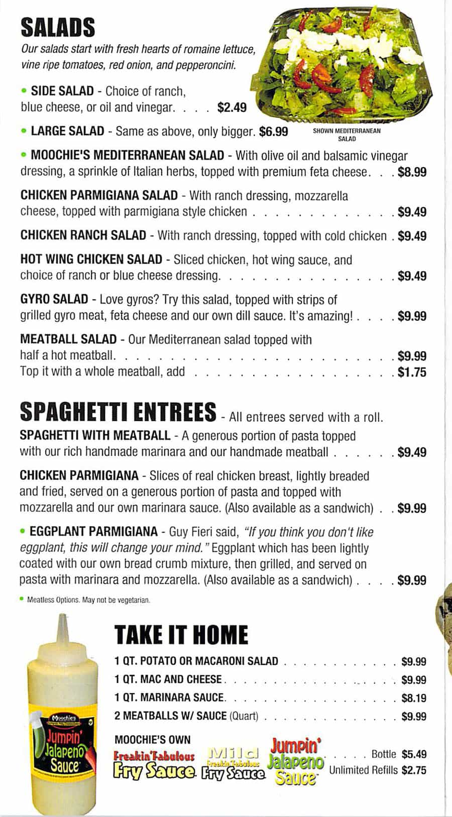 Moochie's Meatballs And More menu - salads, spaghetti