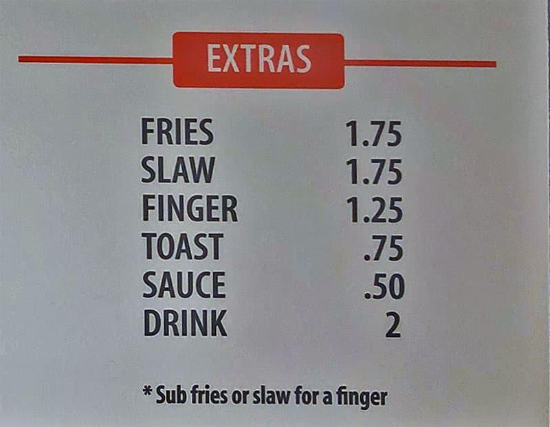Mr Charlies Chicken Fingers menu - extras