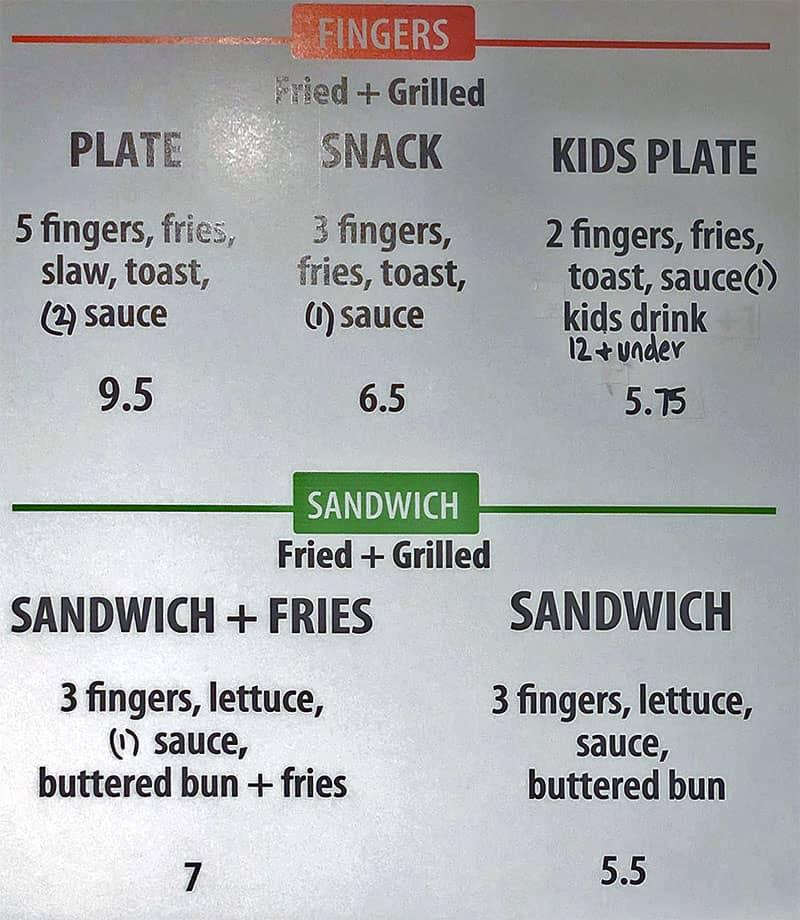 Mr Charlies Chicken Fingers menu - fingers, sandwiches