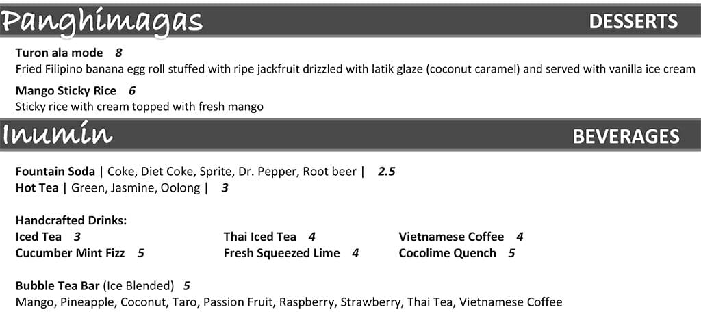 Narra Asian Bistro - desserts, drinks