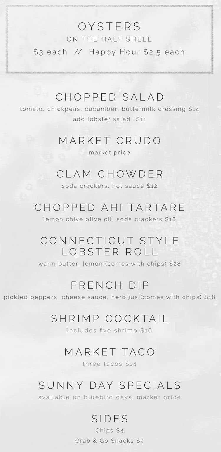 RIME Raw Bar menu - food