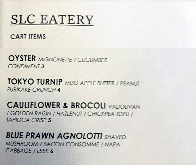 SLC Eatery menu - cart items
