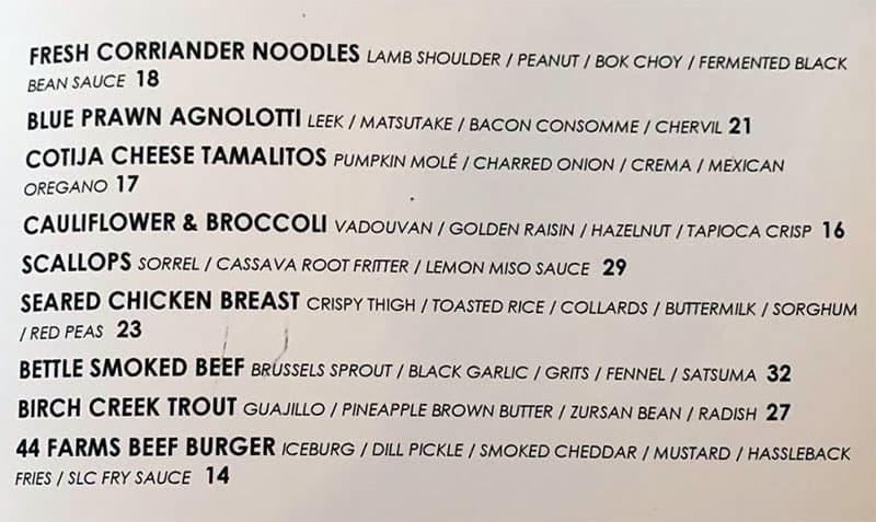 SLC Eatery Winter 2019 menu - appetizers