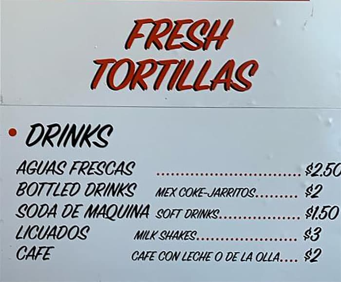 Santo Tacos menu - drinks