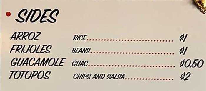 Santo Tacos menu - sides