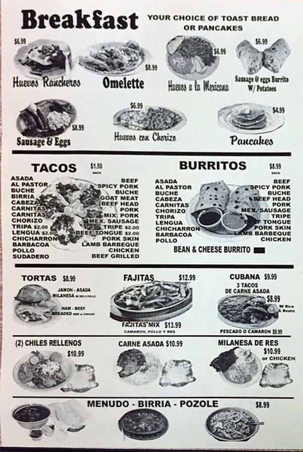 Tacos Blanquita menu - breakfast, tacos, burritos, more
