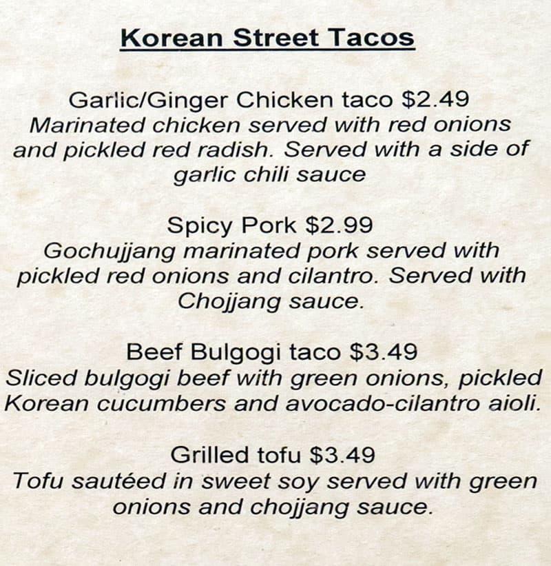 The Angry Korean menu - Korean street tacos