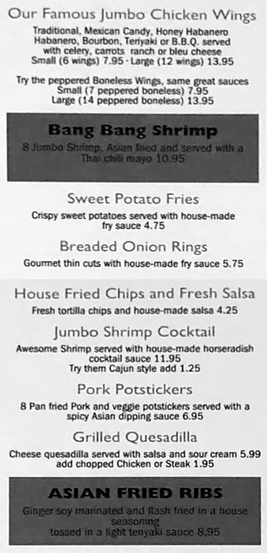 The Black Sheep Bar And Grill menu - appetizers