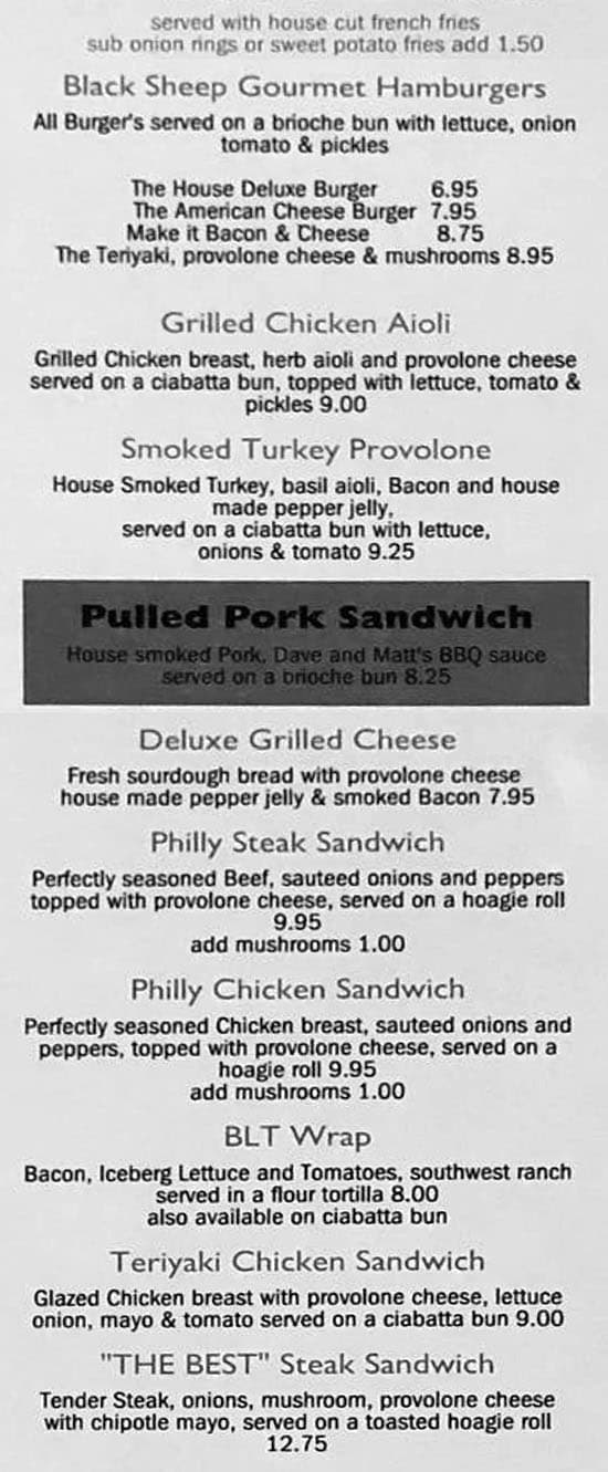 The Black Sheep Bar And Grill menu - burgers and sandwiches