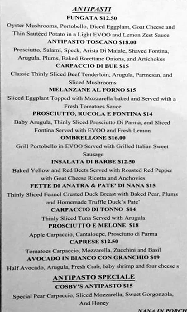 Valter's Osteria menu - antipasti