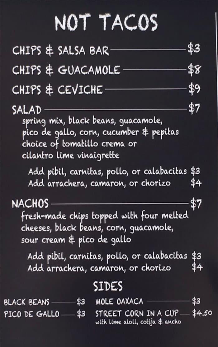 Barrio SLC menu - not tacos